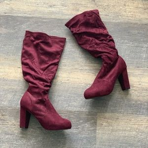 Faux Suede Wide Calf Boots